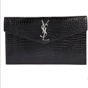 YSL leather crocodile embossed clutch in black—NWT